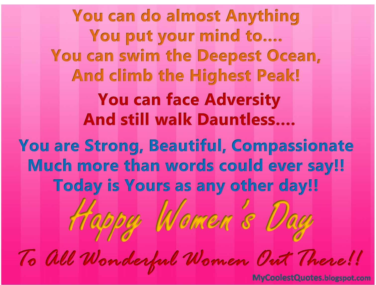 Women's Day Cute saying and lines
