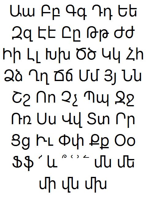Armenian Font Page