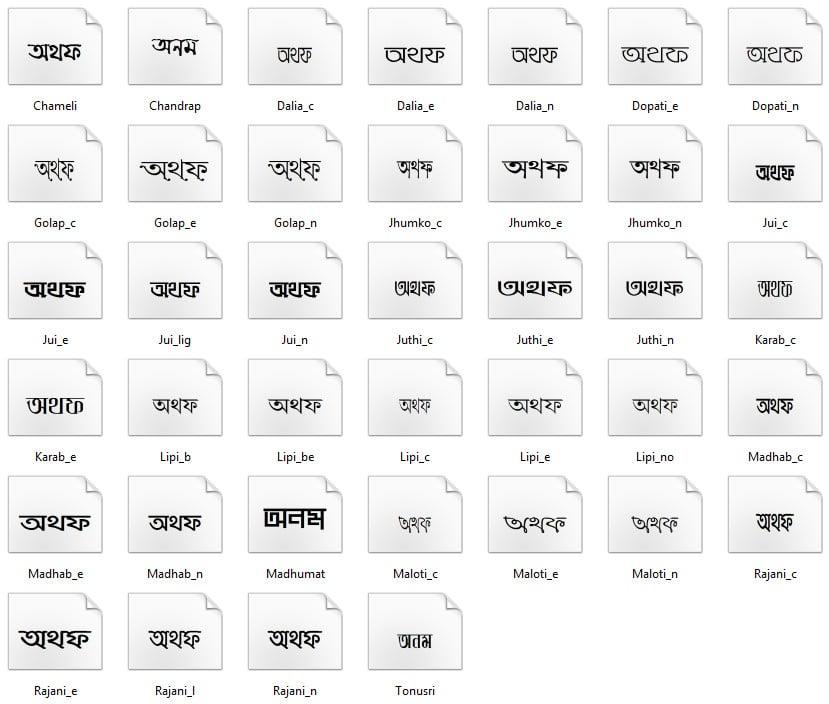 Bangla Words Chart