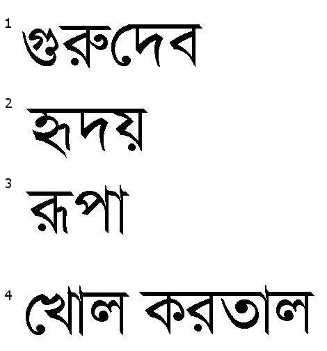 Bengali Words Chart