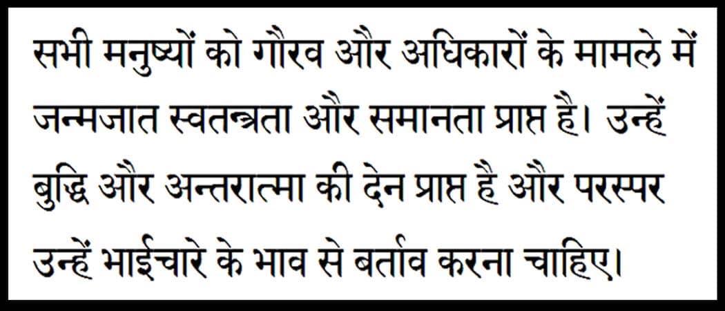 Hindi Script Format