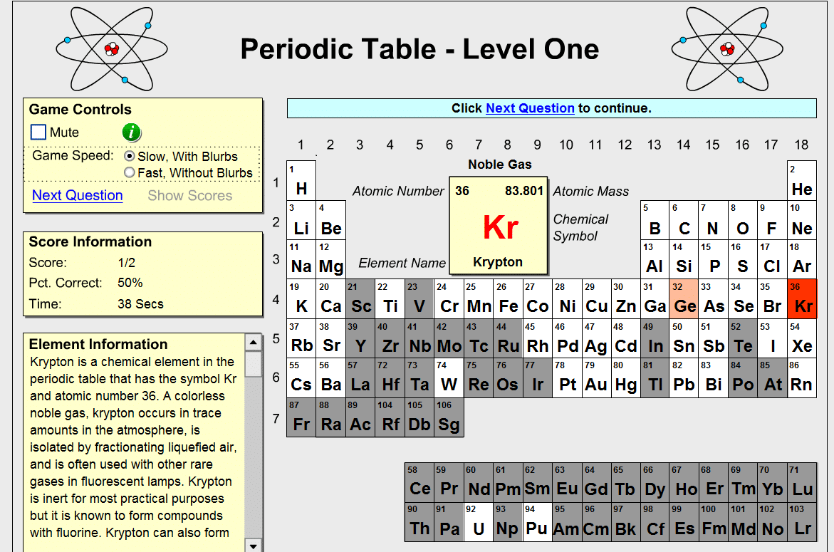 Periodic Table Game Idea