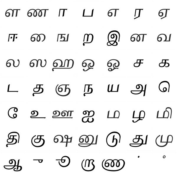 Tamil Letters Format
