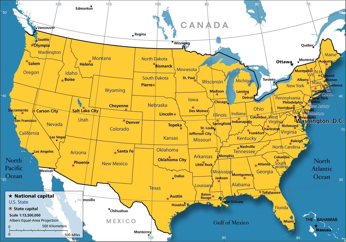 America Map Cities