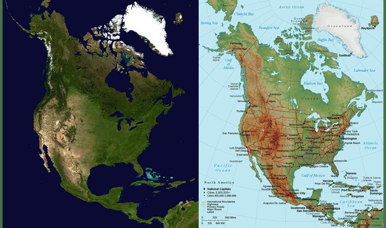 America Satellite Map