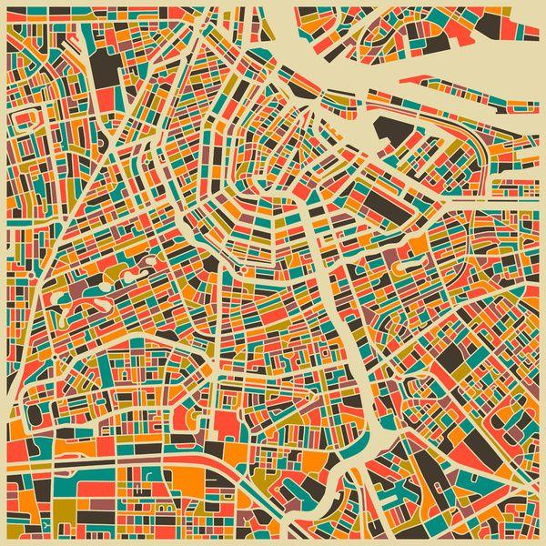 Amsterdam City Map Art