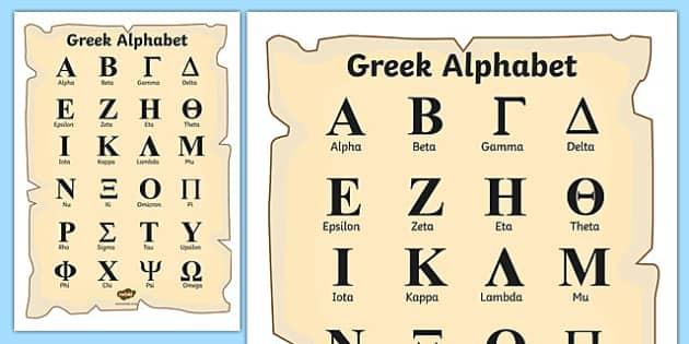Ancient Greek Alphabet Page