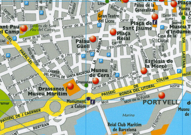 Barcelona City Tourist Map