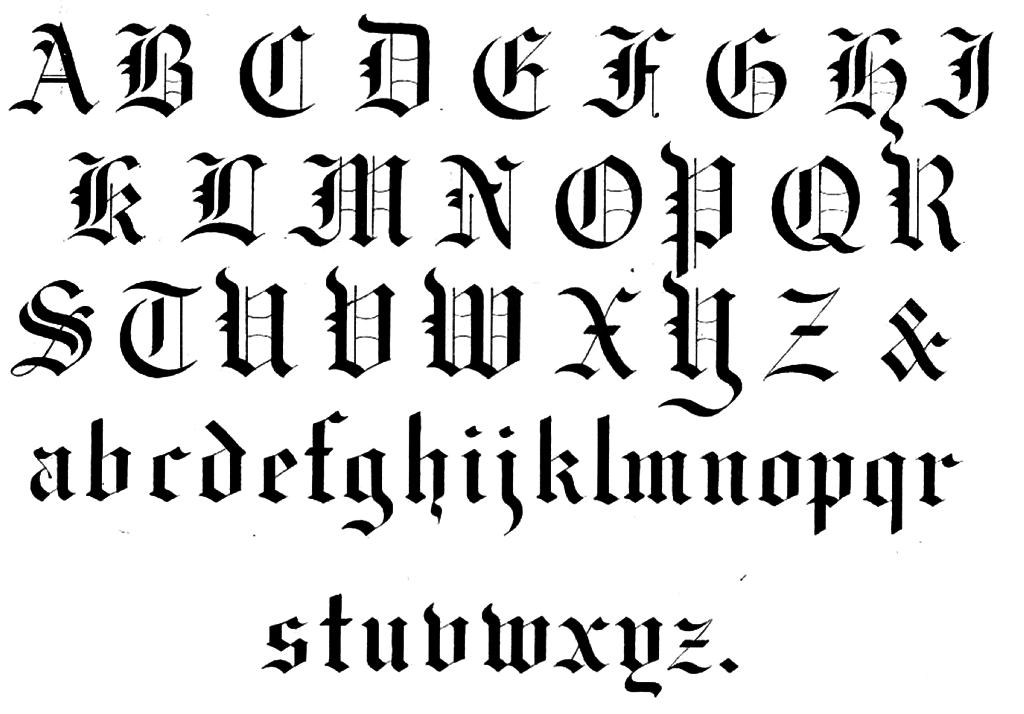 Calligraphy Medieval Alphabet