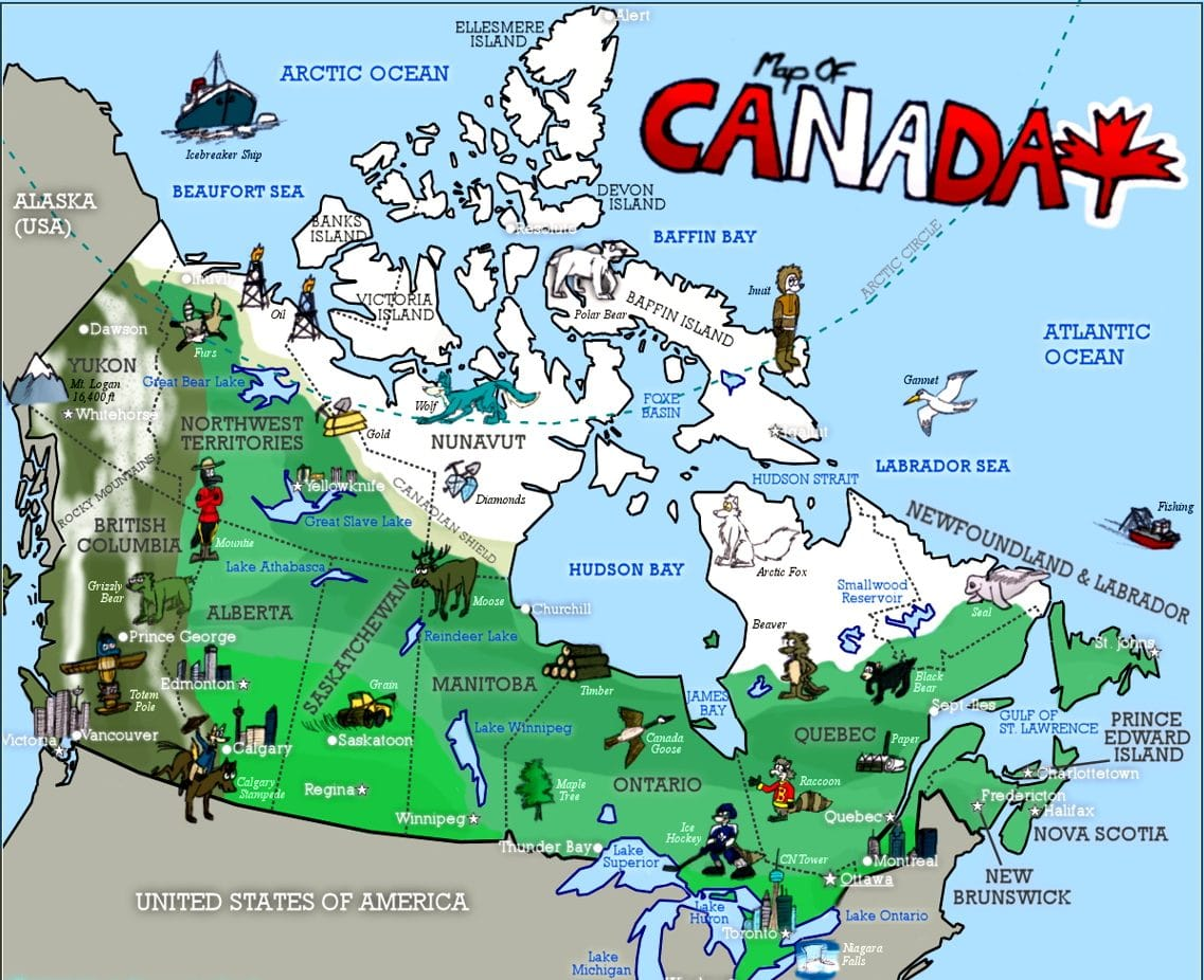 Canada Map Cartoon