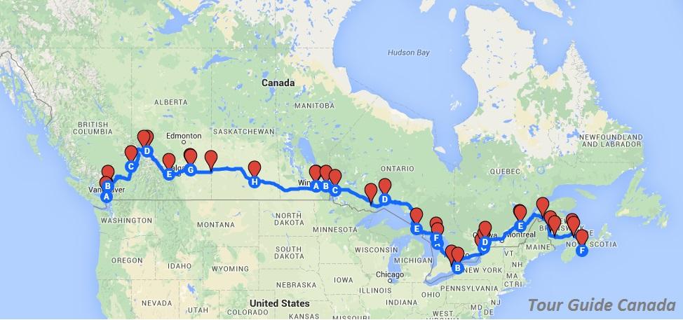 Canada Road Trip Map