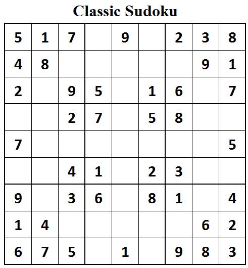 Classic Sudoku Chart