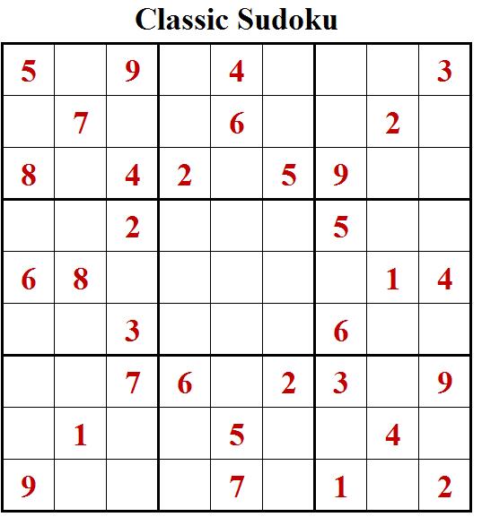 Classic Sudoku Free