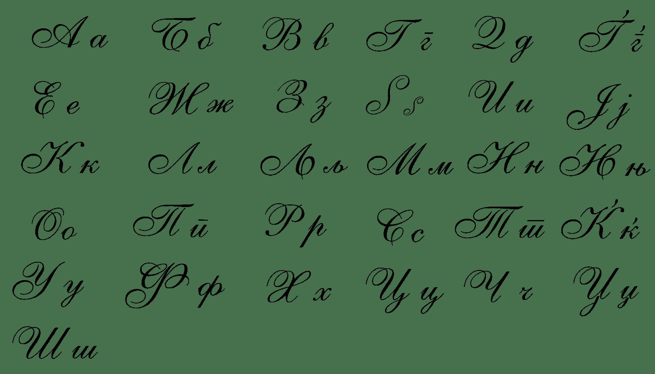 Cyrillic Cursive Alphabet