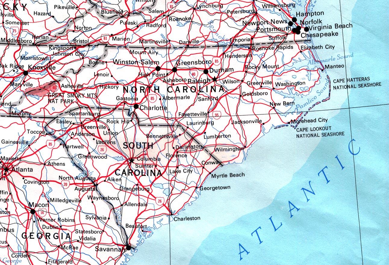 Driving Map of North Carolina