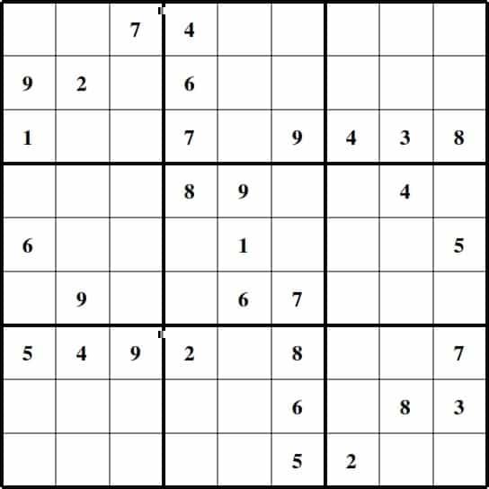Easy Sudoku Chart