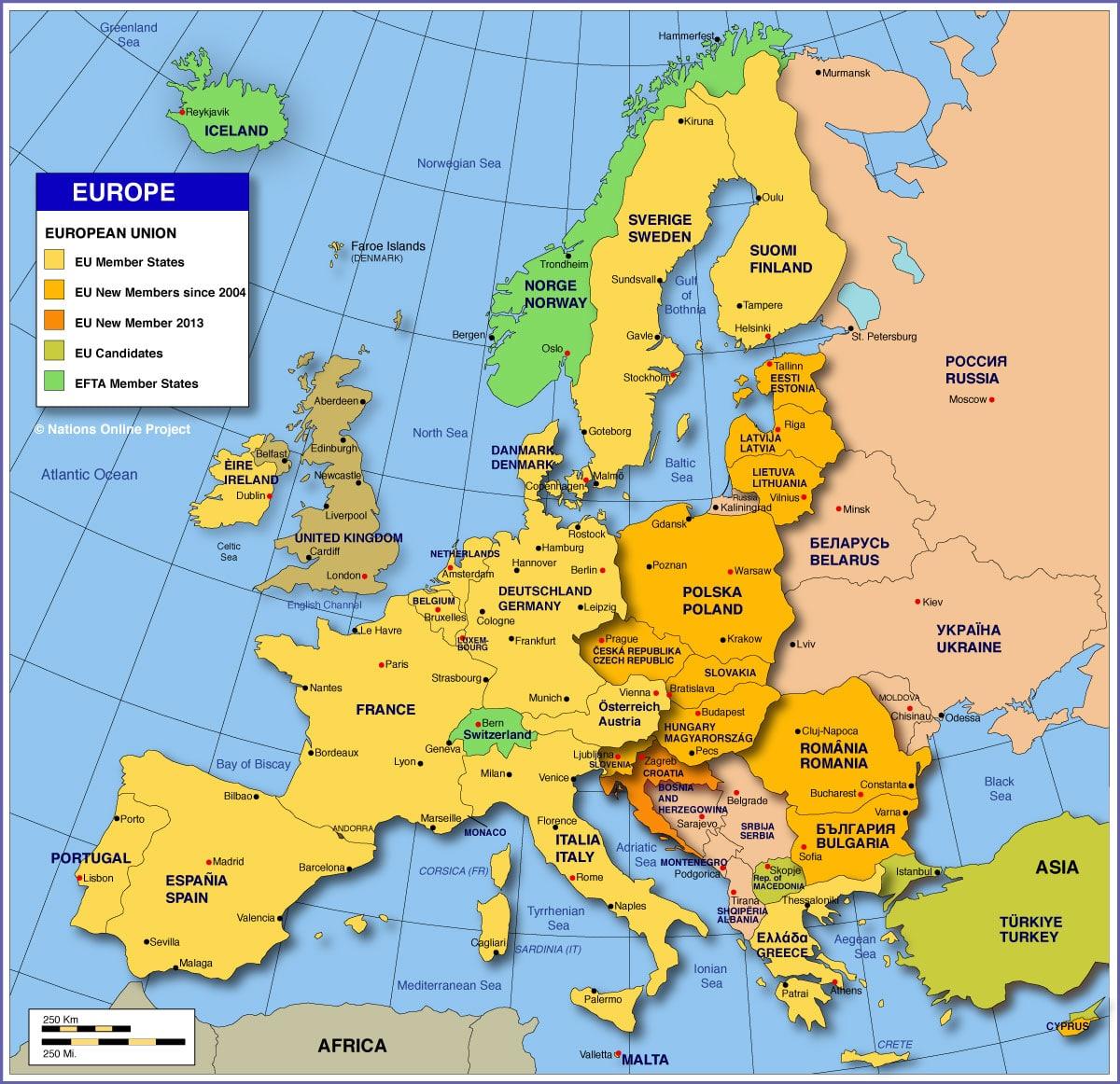 Europe Big Cities Map