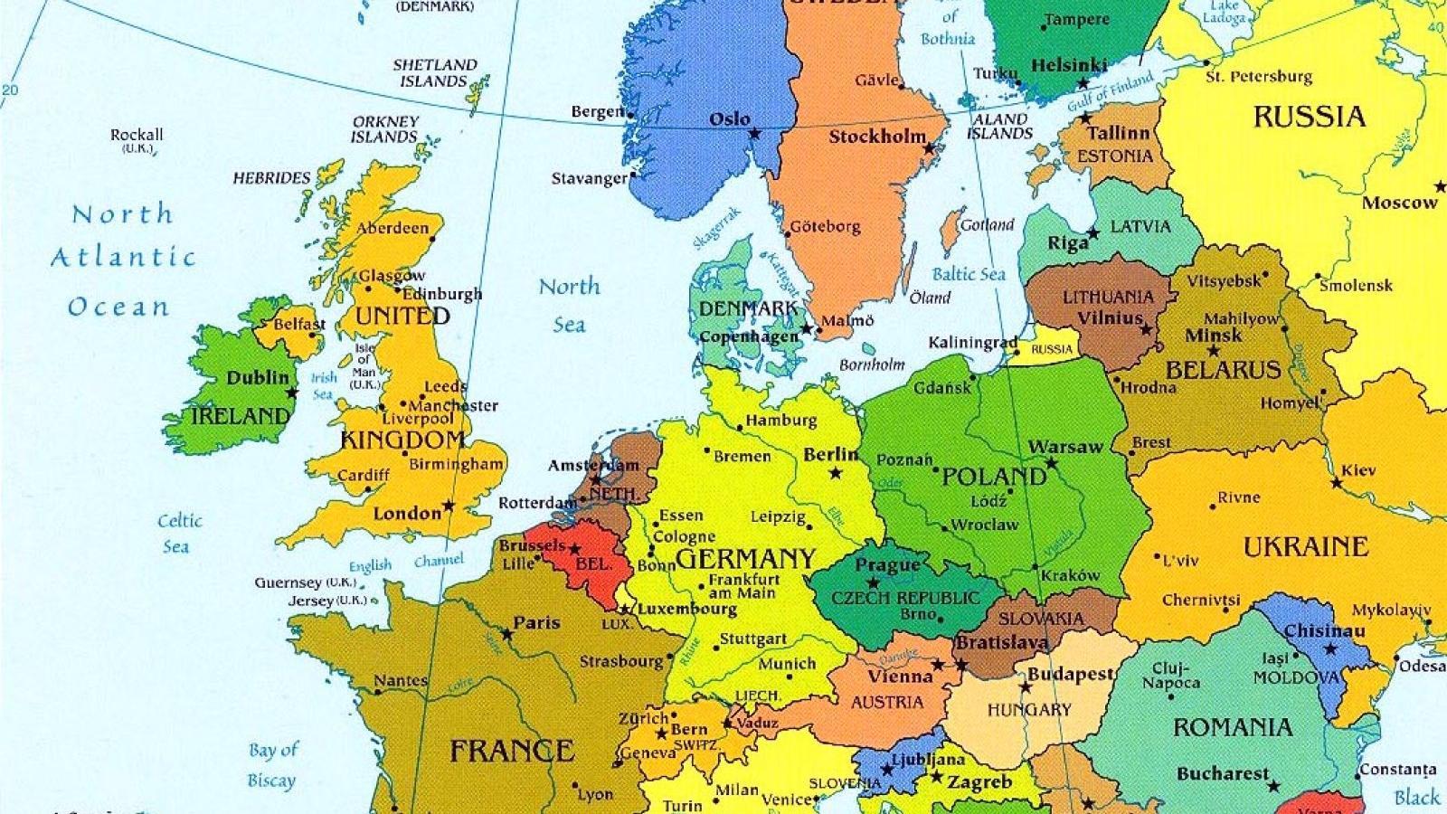 Europe Cities Tourist Map