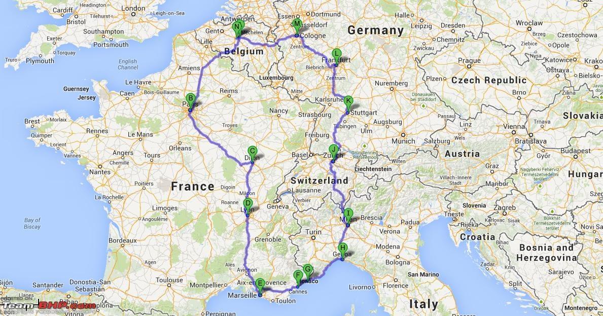 Europe Road Trip Map