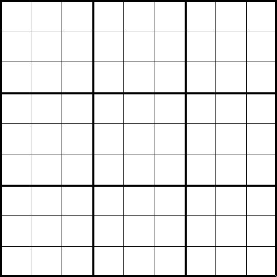Free Blank Sudoku Printable