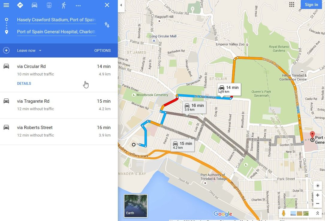 Google Maps Directions Traffic