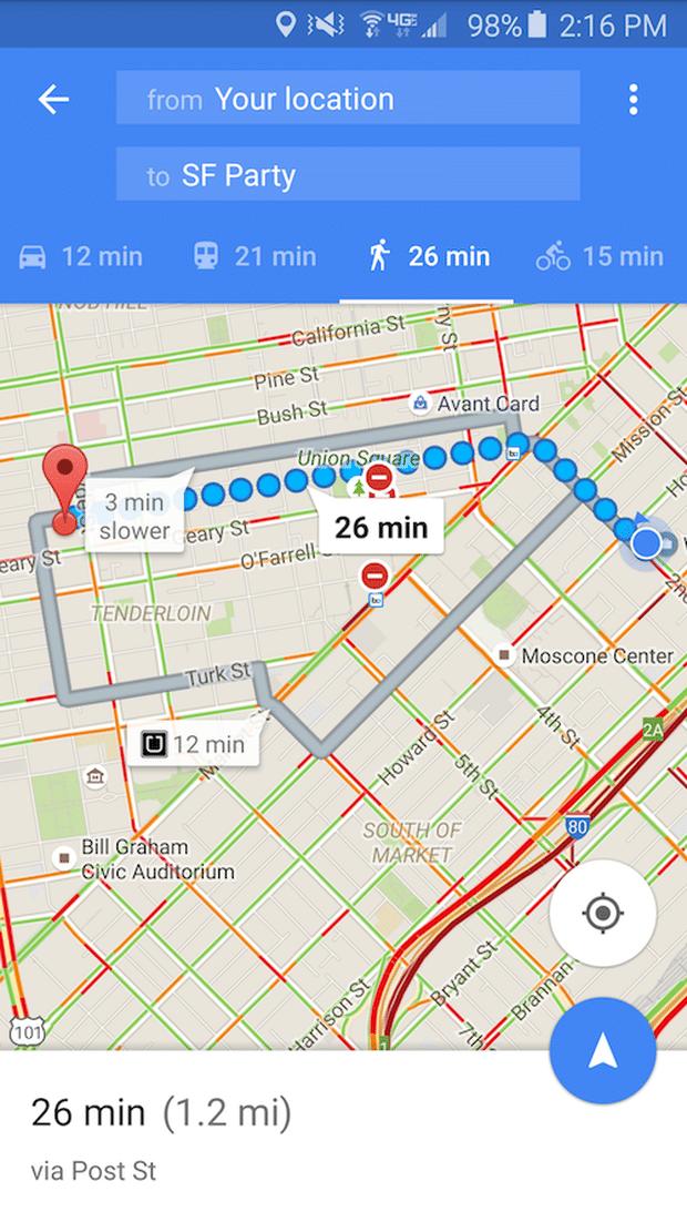Google Maps Directions Walking