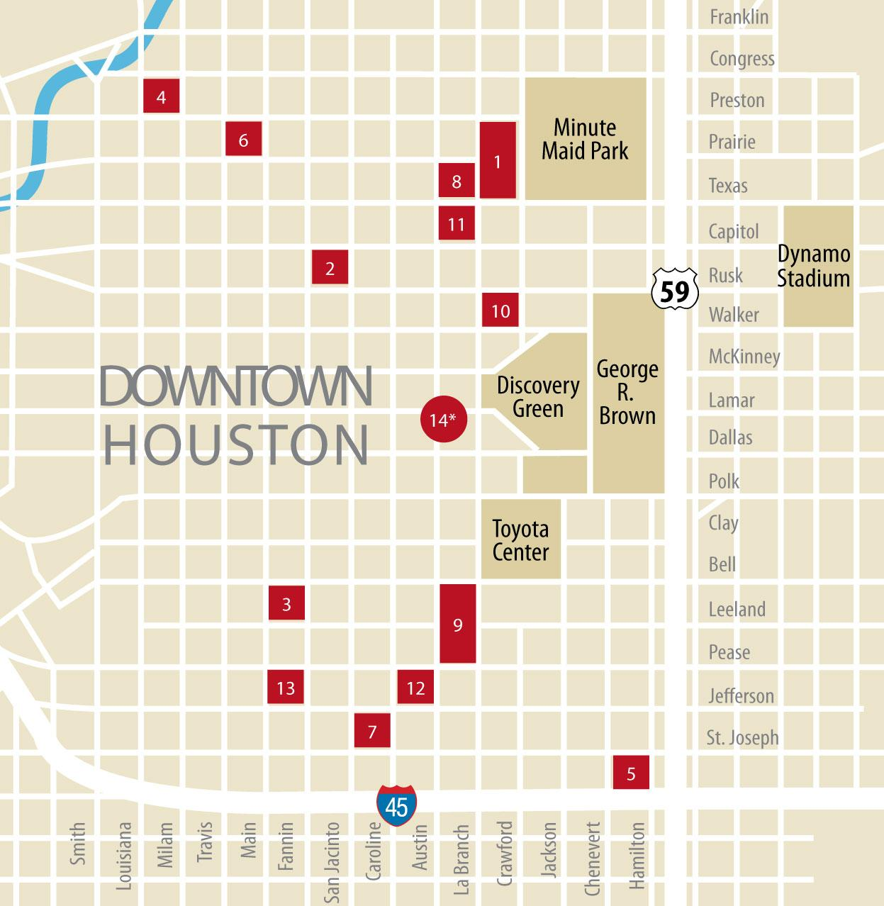 Houston Map Downtown