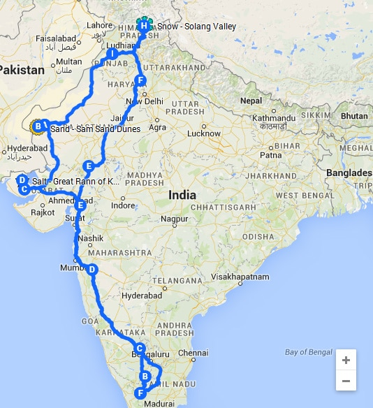 India Road Trip Map