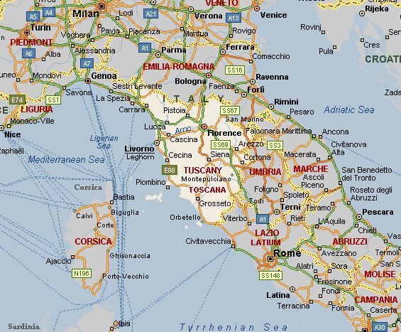 Italy Central Cities Map