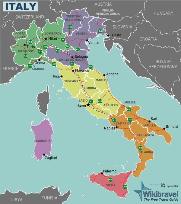 Italy Map Cities and Region