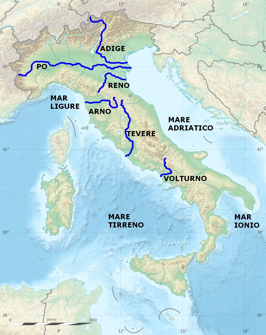 Italy Map Rivers