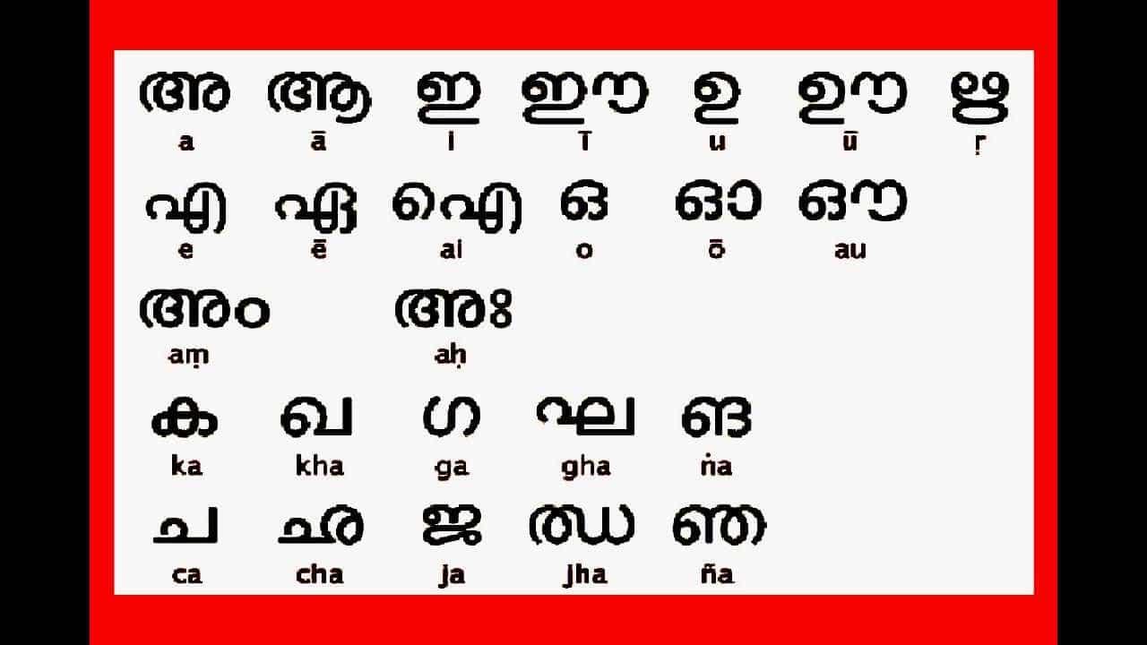 Malayalam Alphabet Letters