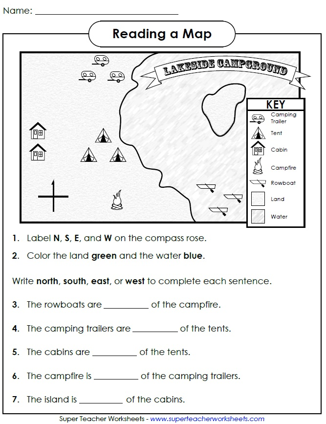 Map Directions Worksheet