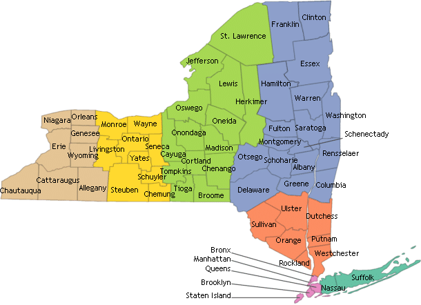 Map New York Counties
