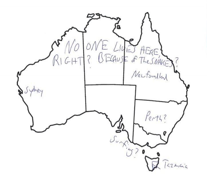 Map of Australia Drawing