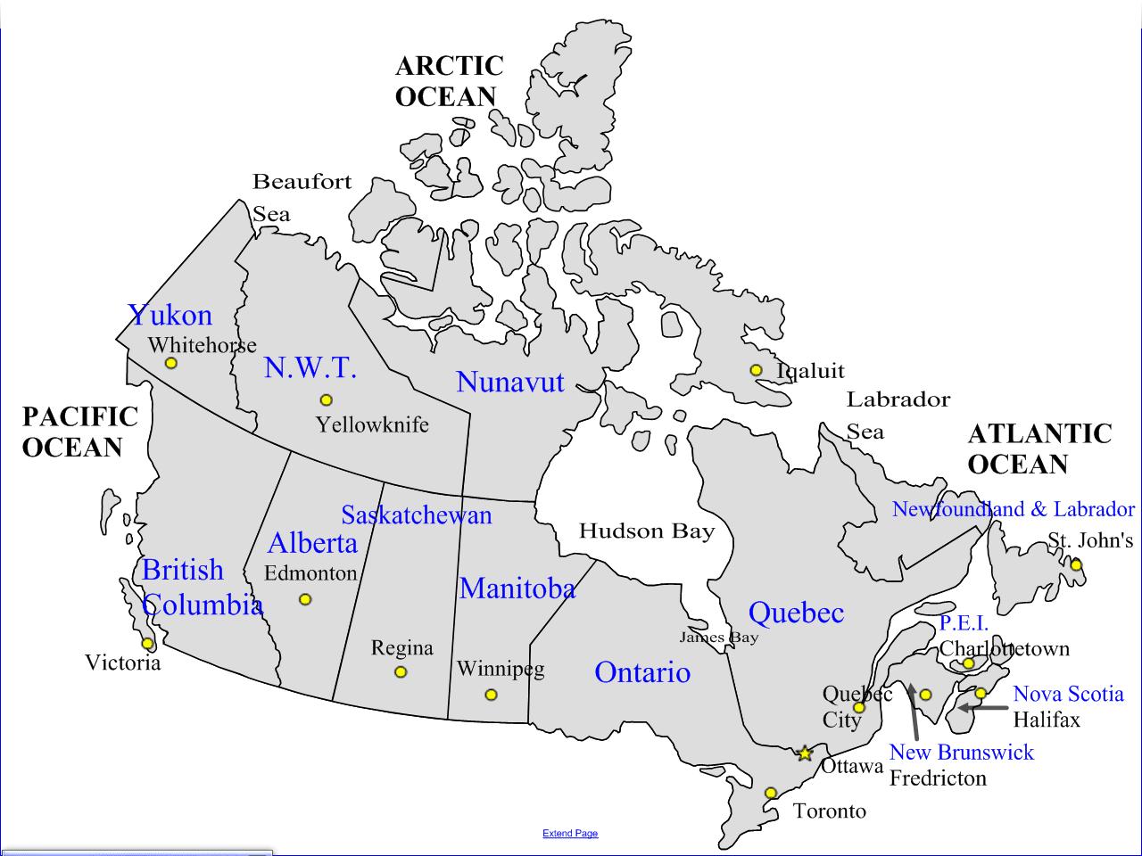 Map of Canada Capitals