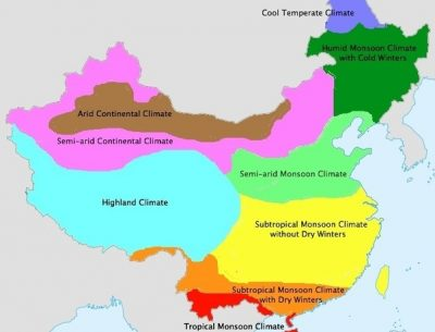 Map of China Climate