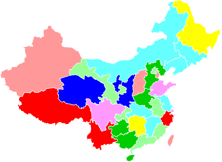 Map of China Colored