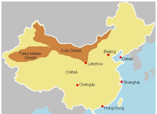 Map of China Desert