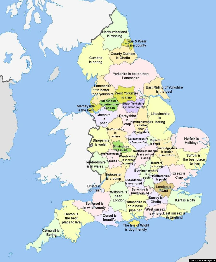 Map of England Countries