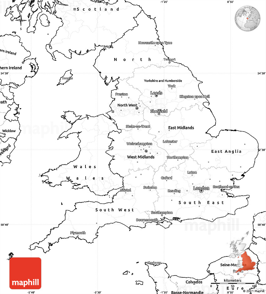 Map of England Outline