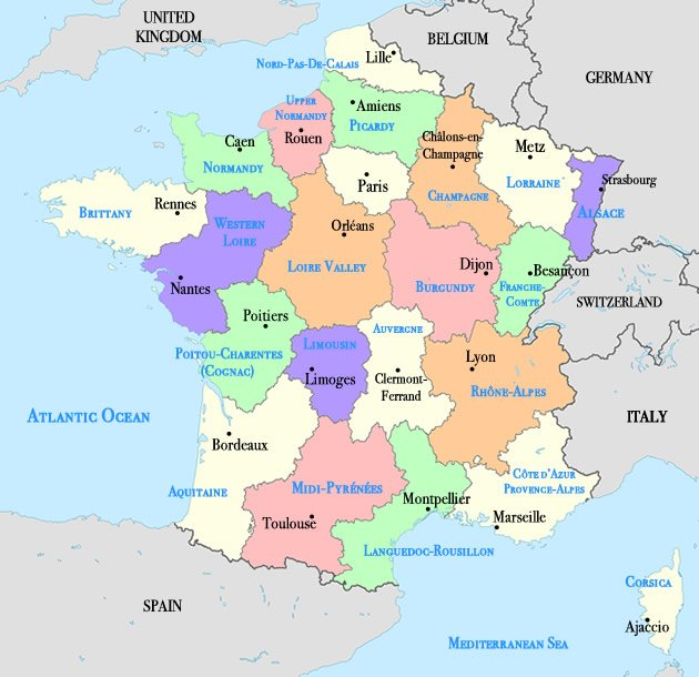 Map of France Cities