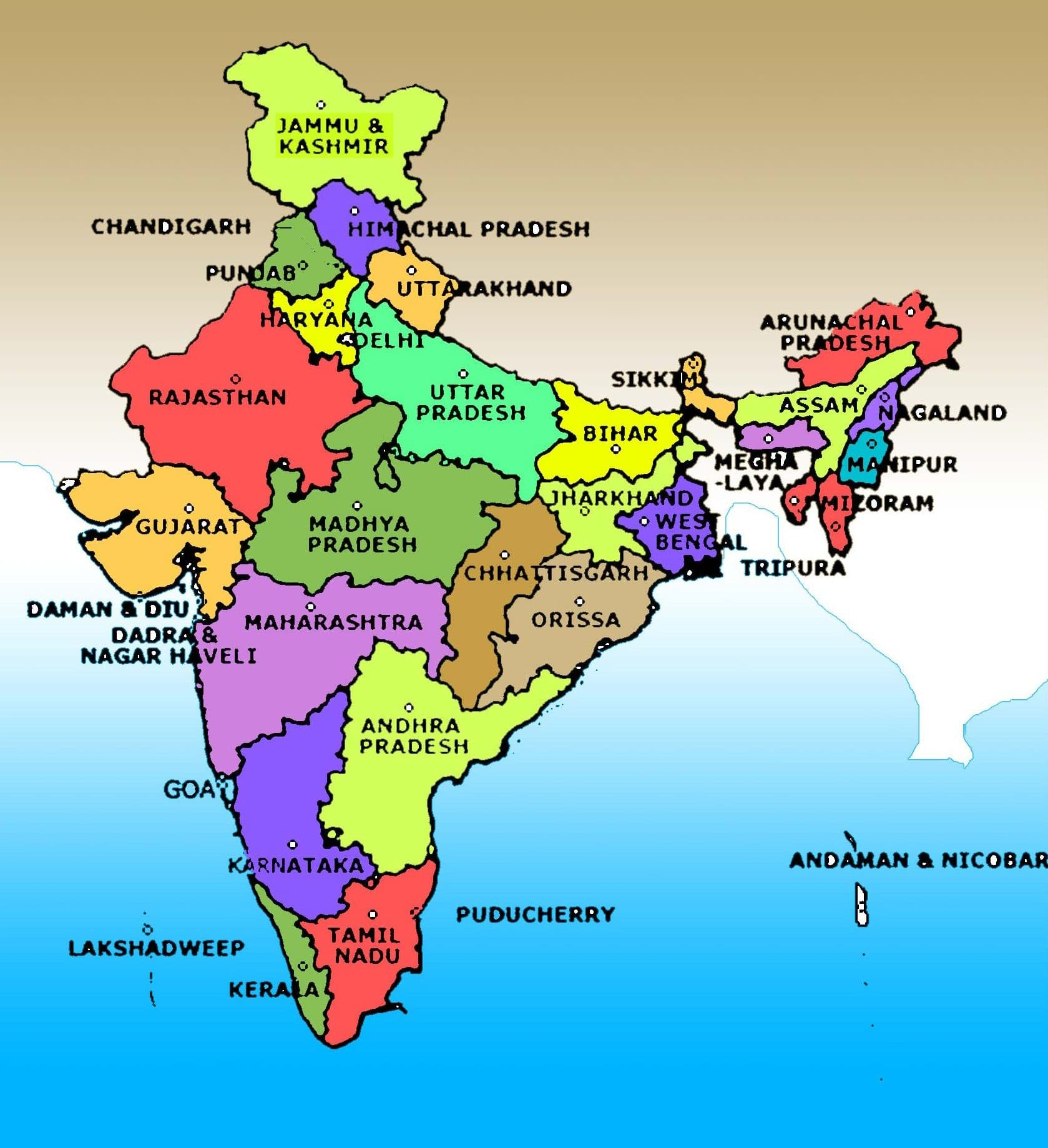 High Resolution 1080p India Map With States And Capitals 2019