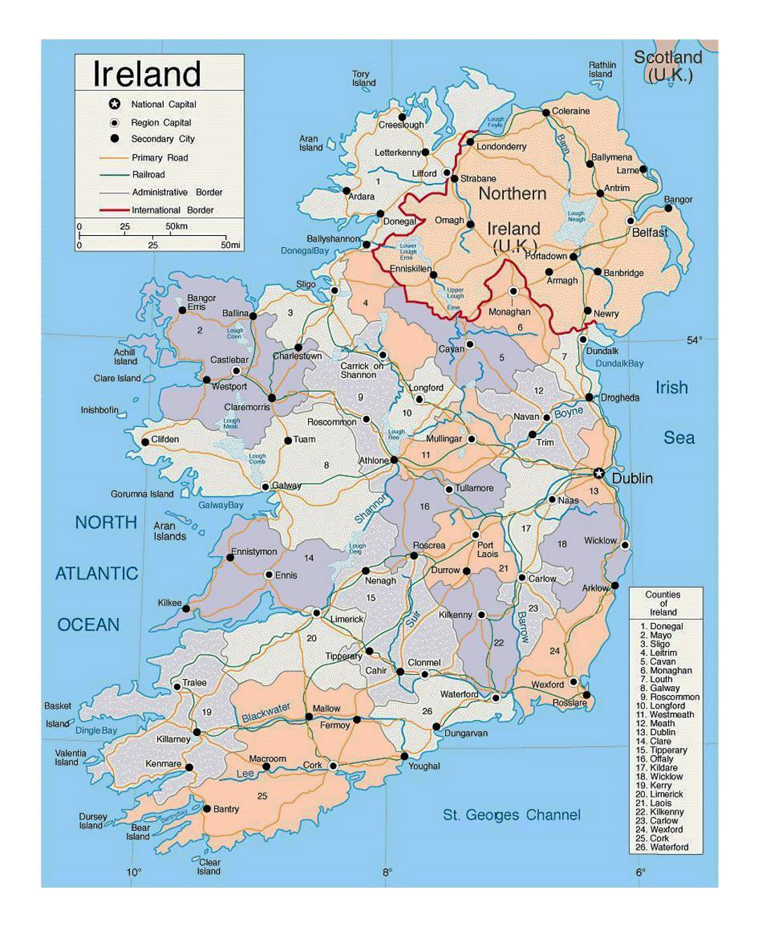 Map of Ireland Cities