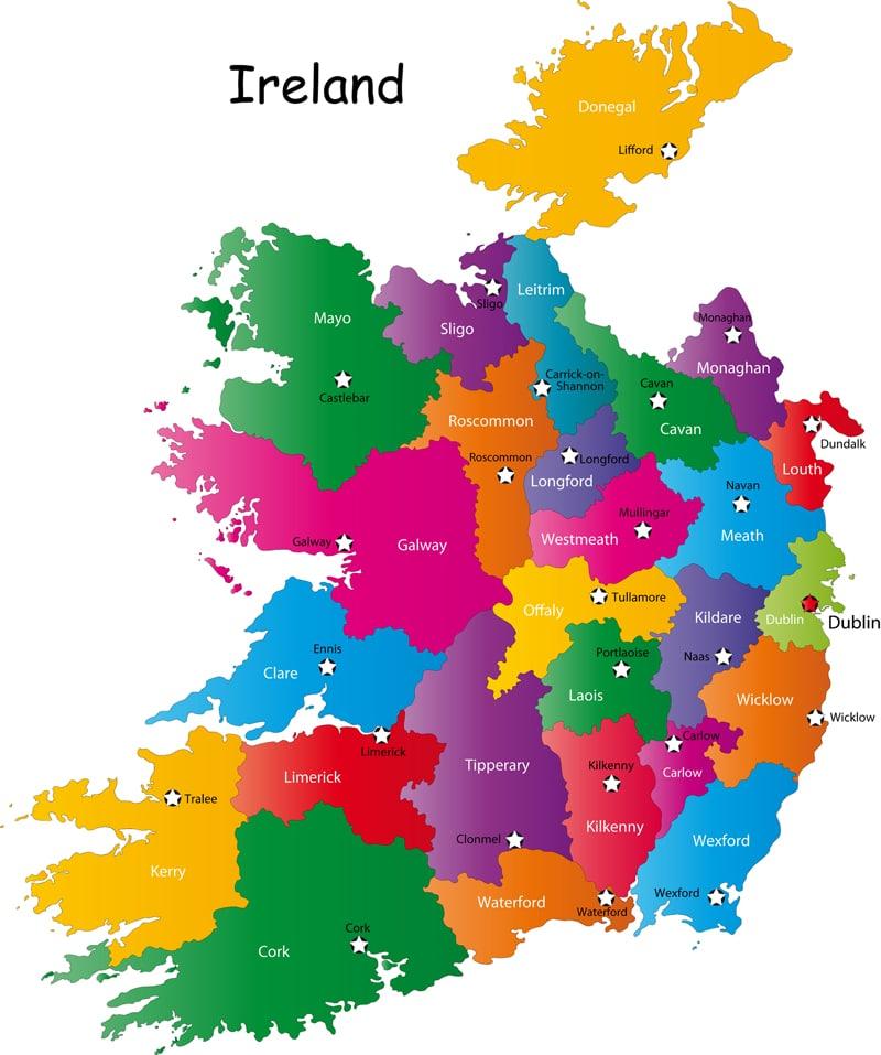 Map of Ireland Counties