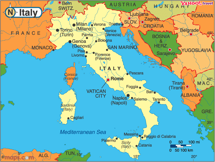 Map of Italy France