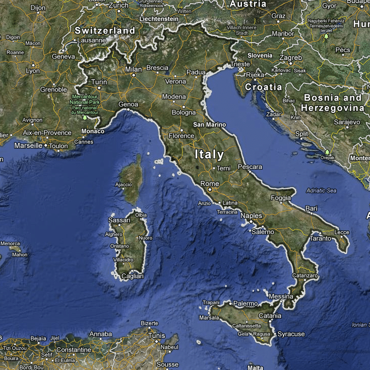 Map of Italy Google