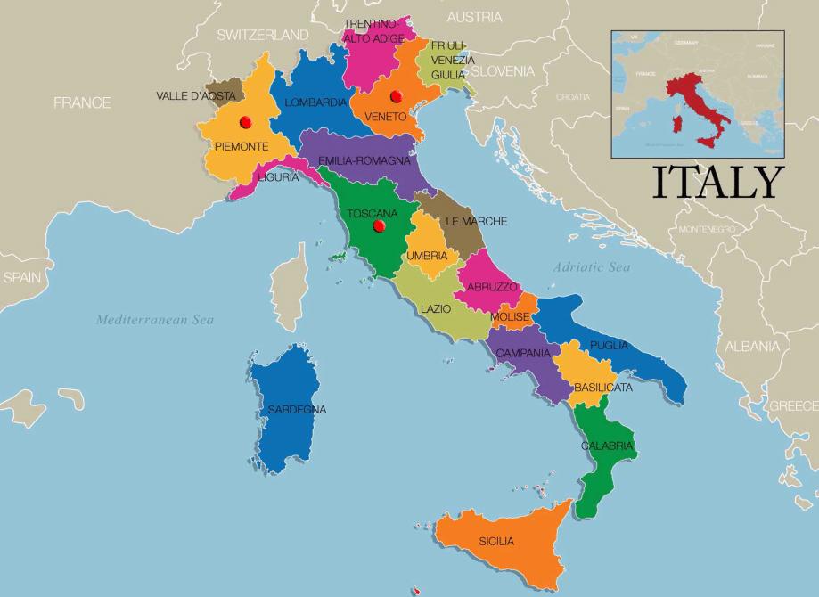 Map of Italy Regions