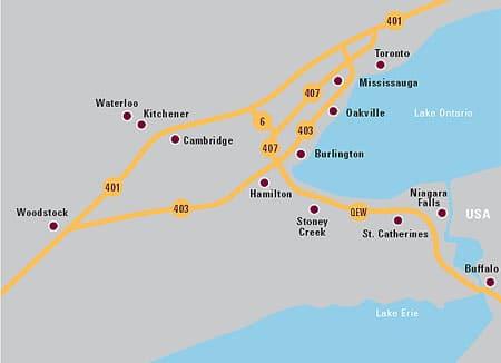 Map of Ontario Universities