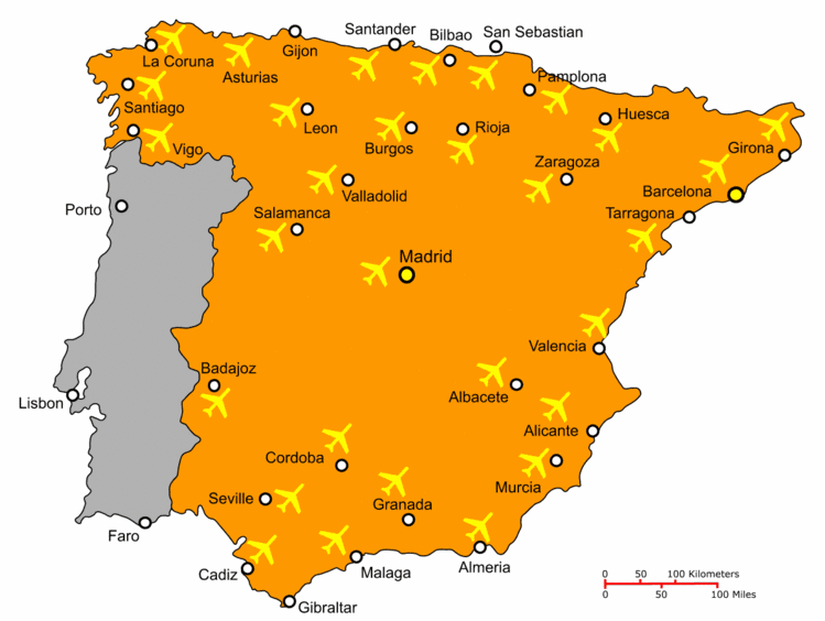 Map of Spain Airports
